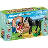 Playmobil Coleccionables - Playset con corcel y establo, color negro (5519)