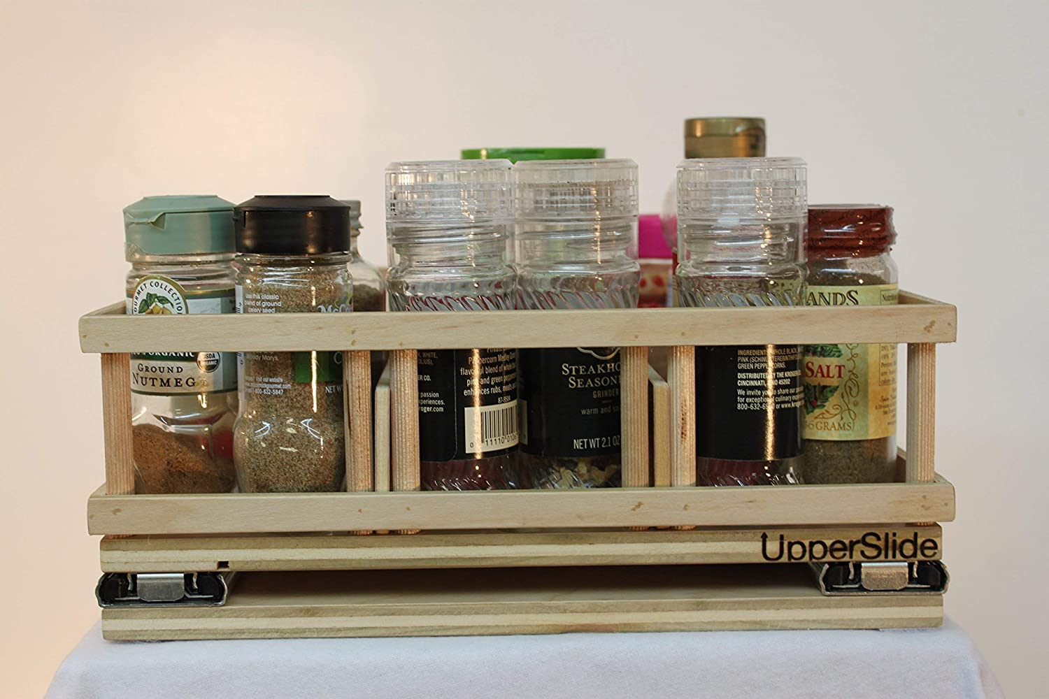 UpperSlide Cabinet Caddies Medium Spice Rack Pull Out Caddy Upper Cabinet Storage fitting most 15 inch cabinets (US 303M) FREE SHIPPING