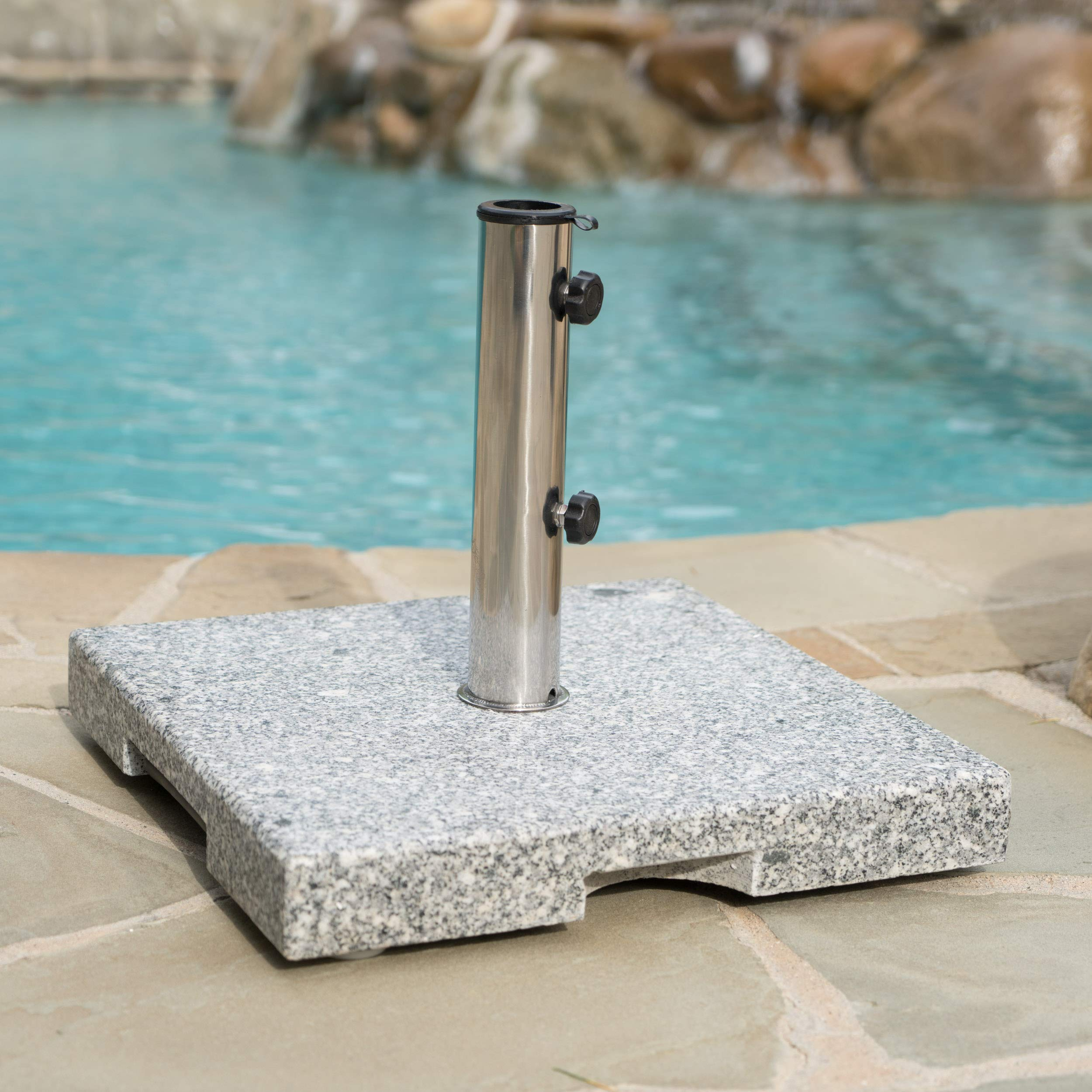 Christopher Knight Home Martino Outdoor Natural Grey Granite and Stainless Steel Umbrella Base