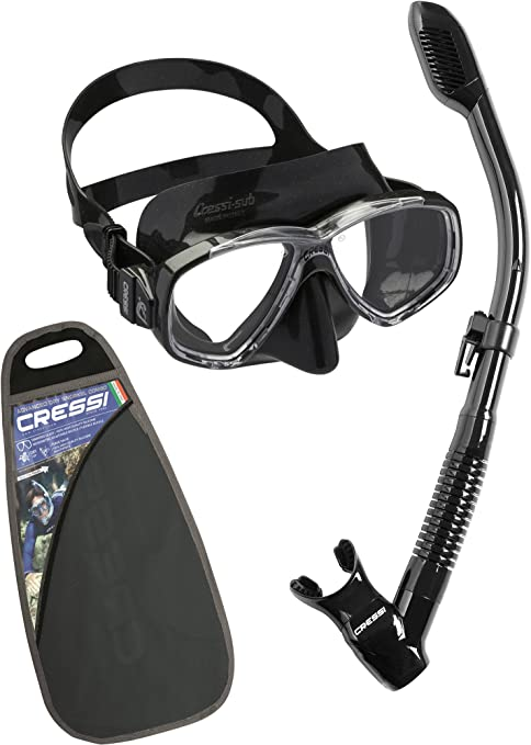 Supernova Dry Black Cressi Adult Diving Dry Snorkel with Splash Guard and Top Valve Designed in Italy