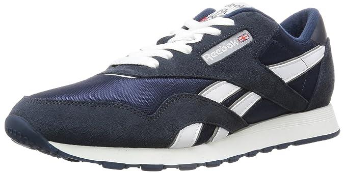 Amazon.com | Reebok Mens Classic Sneaker, team navy/platinum, 5 M US | Fashion Sneakers
