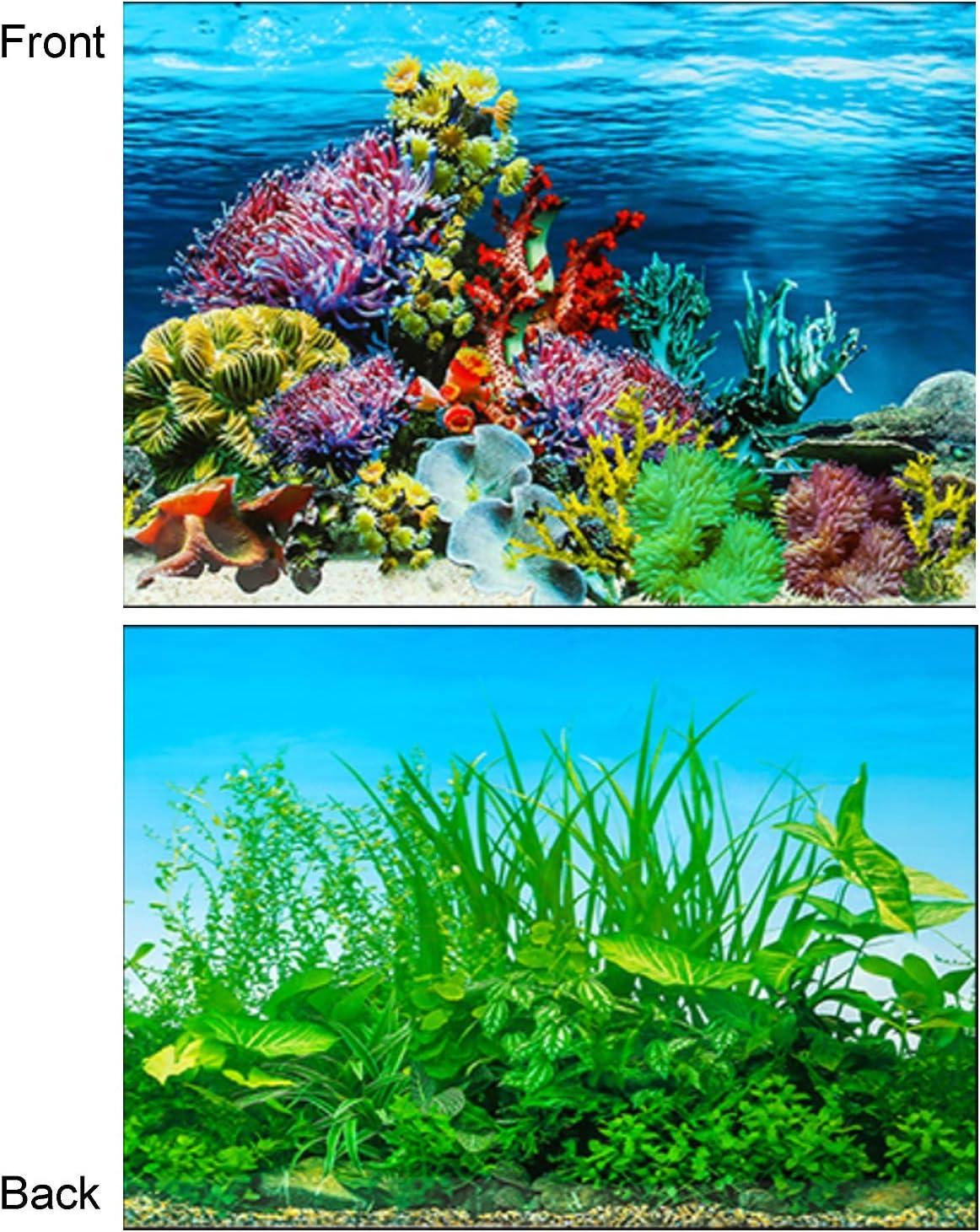 Amazon Com Azlzm Double Sides Fish Tank Background Aquarium Wallpaper Water Plants Coral Reef Poster 60x122cm Home Kitchen
