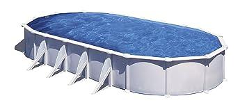 Gre KITPROV1028 Atlantis - Piscina Elevada Ovalada, Aspecto Acero Blanco, 1000 x 550 x 132 cm