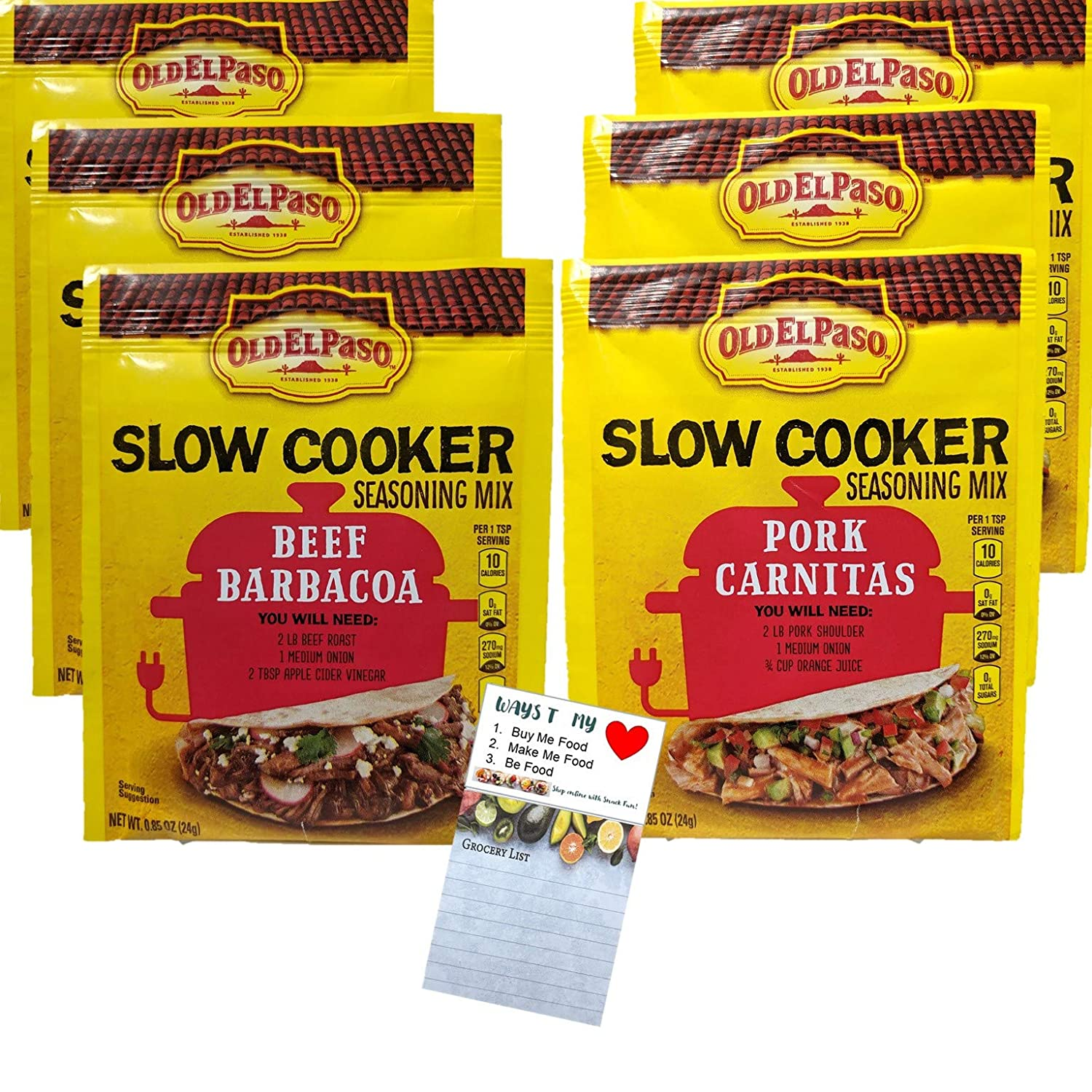 Old El Paso Slow Cooker Seasoning Mix Beef Barbacoa | Pork Carnitas Variety 6 Pack | Snack Fun Sopping List Magnetic Pad | 6 .05 ounce Packets