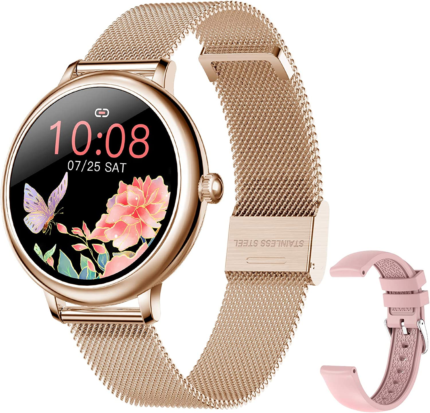 SKMEI Smart Watch for Women, Smart Watch for Android iPhones with Female Function, Waterproof Fitness Activity Tracker with Heart Rate Blood Pressure Monitor Call Reminder