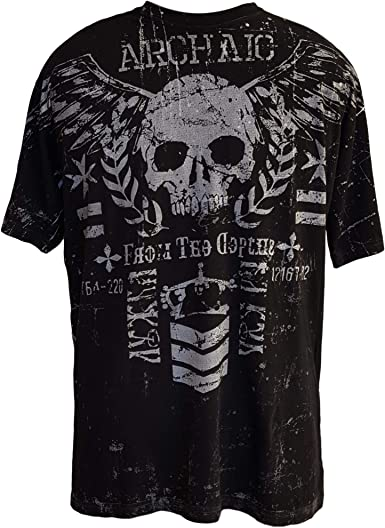 Affliction/ Archaic Mens T-Shirt NIGHTWATCHER Skulls Tattoo Biker UFC