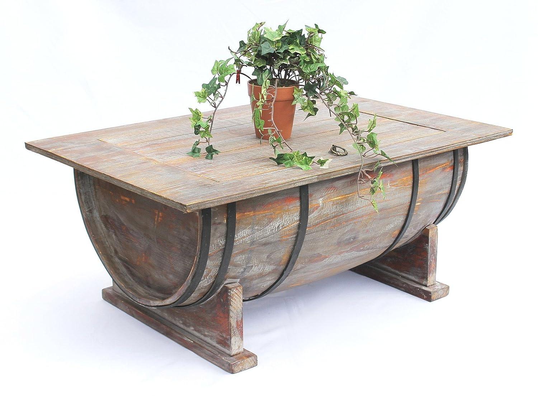DanDiBo Couchtisch als halbiertes Weinfass Tisch aus Holz ...