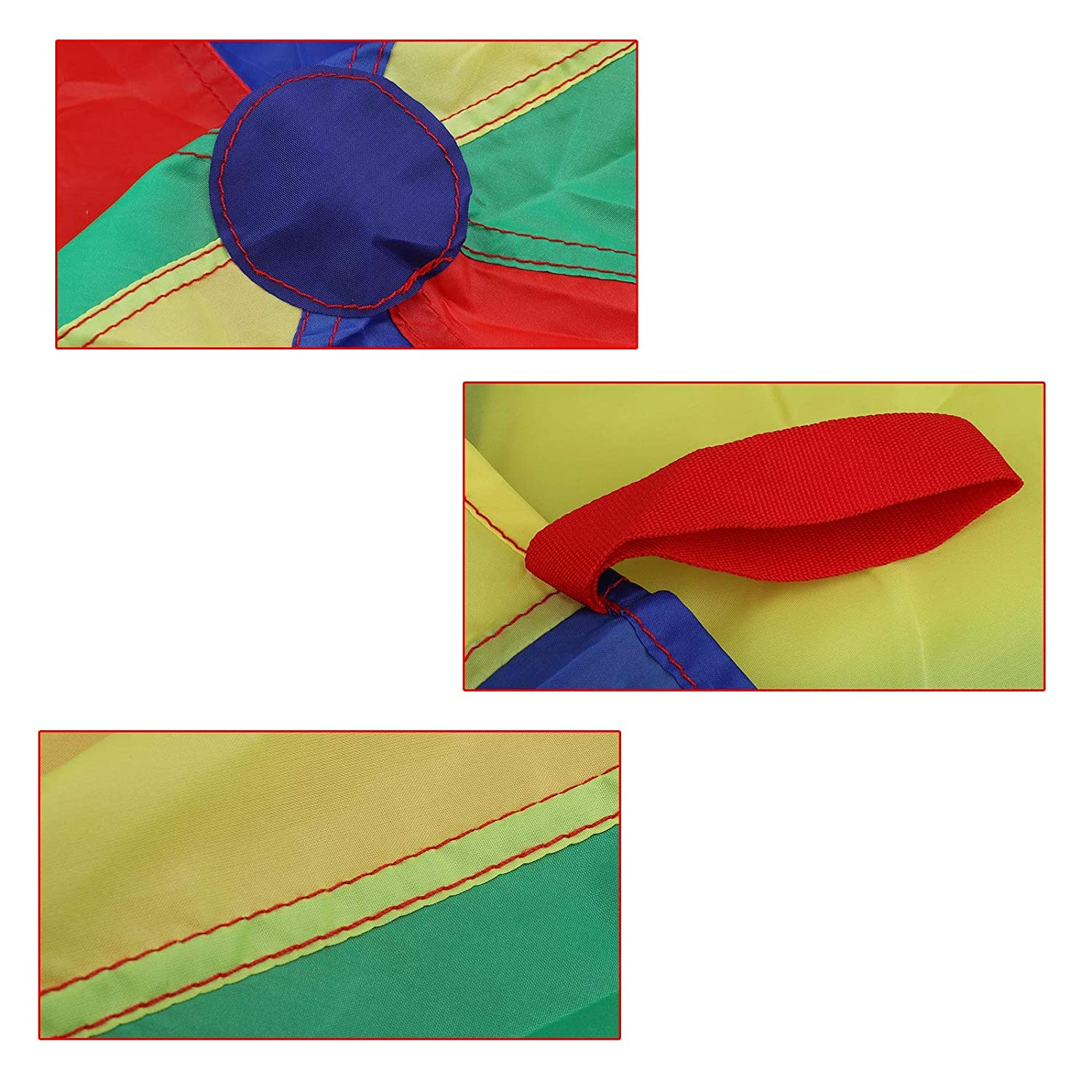 6 ft Rainbow Play Parachute for Kids with 9 Handles for 4-8 Kids Tent Cooperative Games Birthday Gift,Promote Teamwork Social Bonding for Ages 3+ Fitness Uglyfish Kids Play Parachute