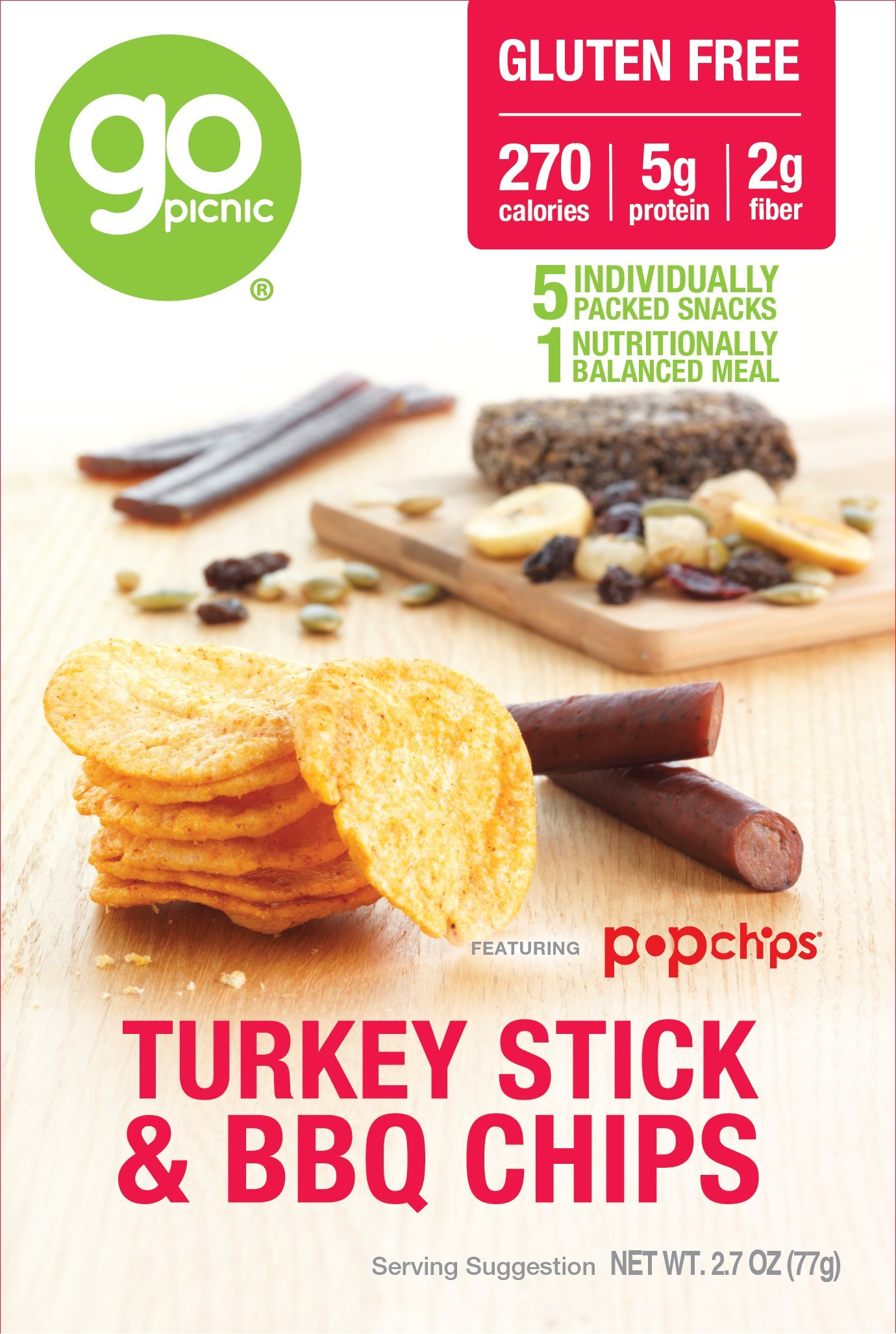 GoPicnic Ready-to-Eat Meals Turkey Stick & BBQ Chips, 2.7 ounce (Pack of 6)
