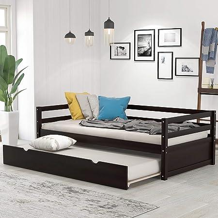 Harper&Bright Designs sofá cama de madera con un camión, cama nido tamaño doble, marco de cama doble estándar, no requiere somier.