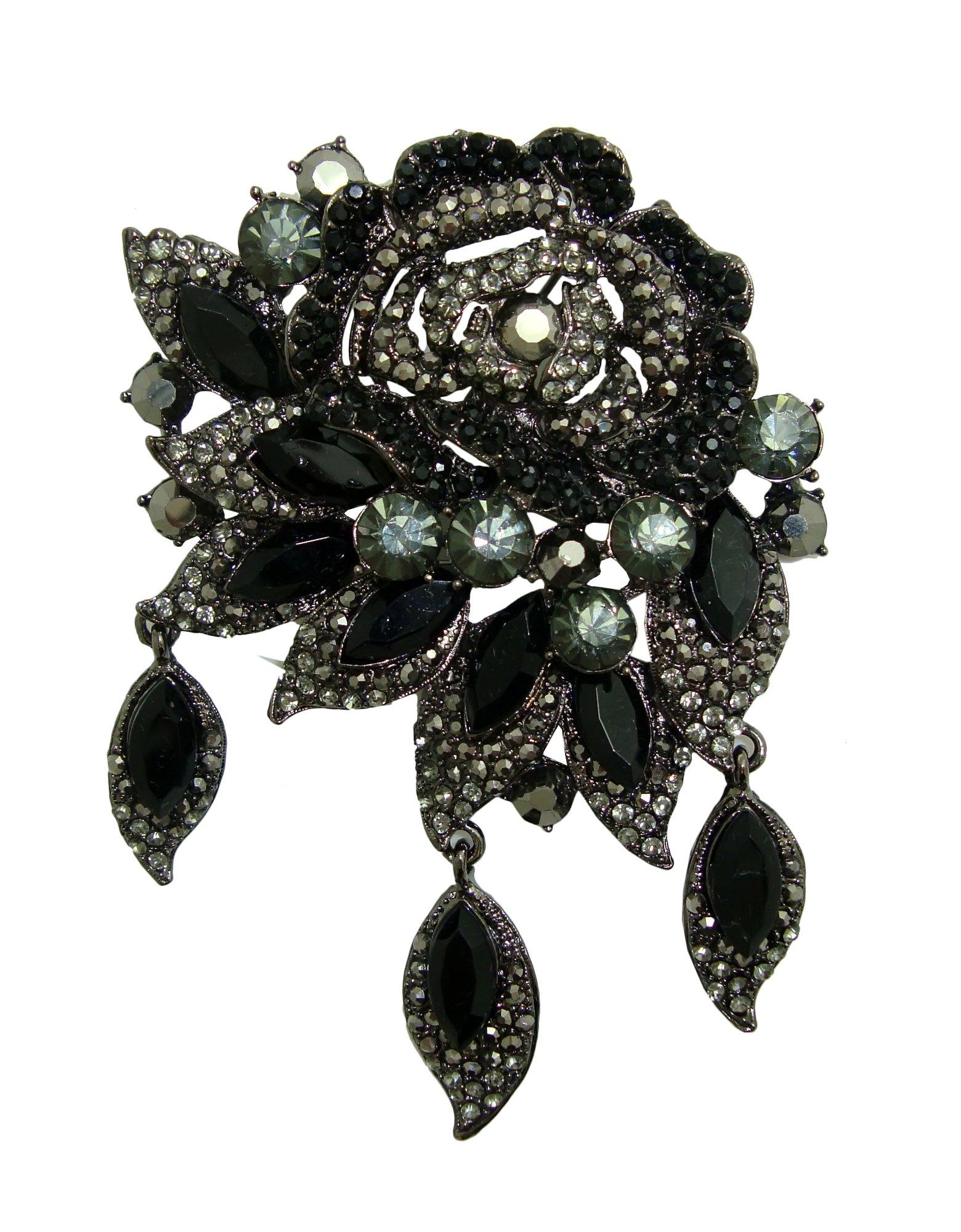 TTjewelry 3.94'' Vintage Style Art Deco Flower Rose Brooch Pin Pendant Rhinestone Crystal (Black)