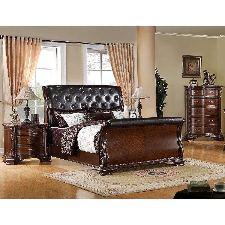 Furniture Of America Luxury Brown Cherry Baroque Style Bedroom Set