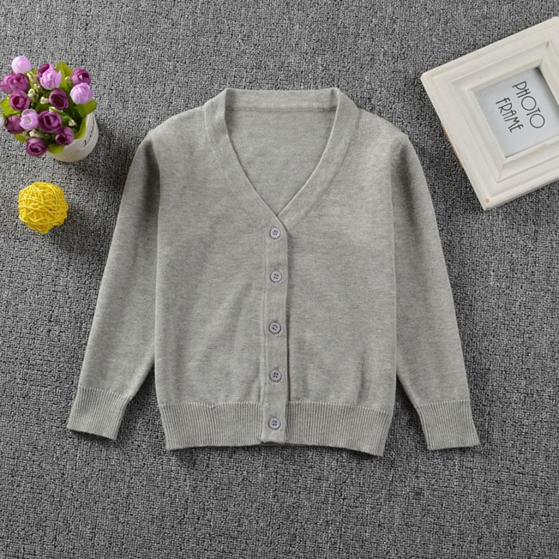 pretty.W Winter Clothes Coat Tops Knitted Colorful Solid Cardigan Sweater for Toddler Kid Boys Girls