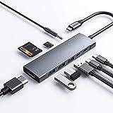 Concentrador USB C para iPad Pro 11 / 12.9 2018 2020, adaptador SANXI 9 en 1 USB-C con HDMI 4K, 3 conectores de audio USB 3.0