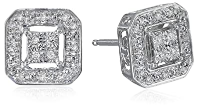 8e53796aa Sterling Silver Diamond Square Shape Stud Earrings (1/10 cttw, I-J Color,