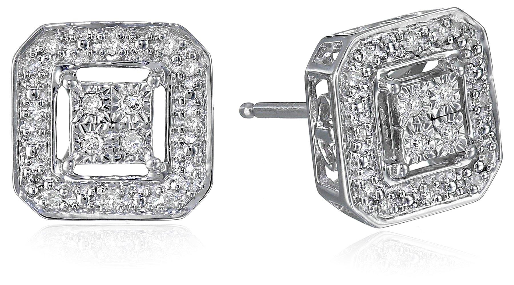 Sterling-Silver-Diamond-Square-Shape-Stud-Earrings-110-cttw-I-J-Color-I2-I3-Clarity