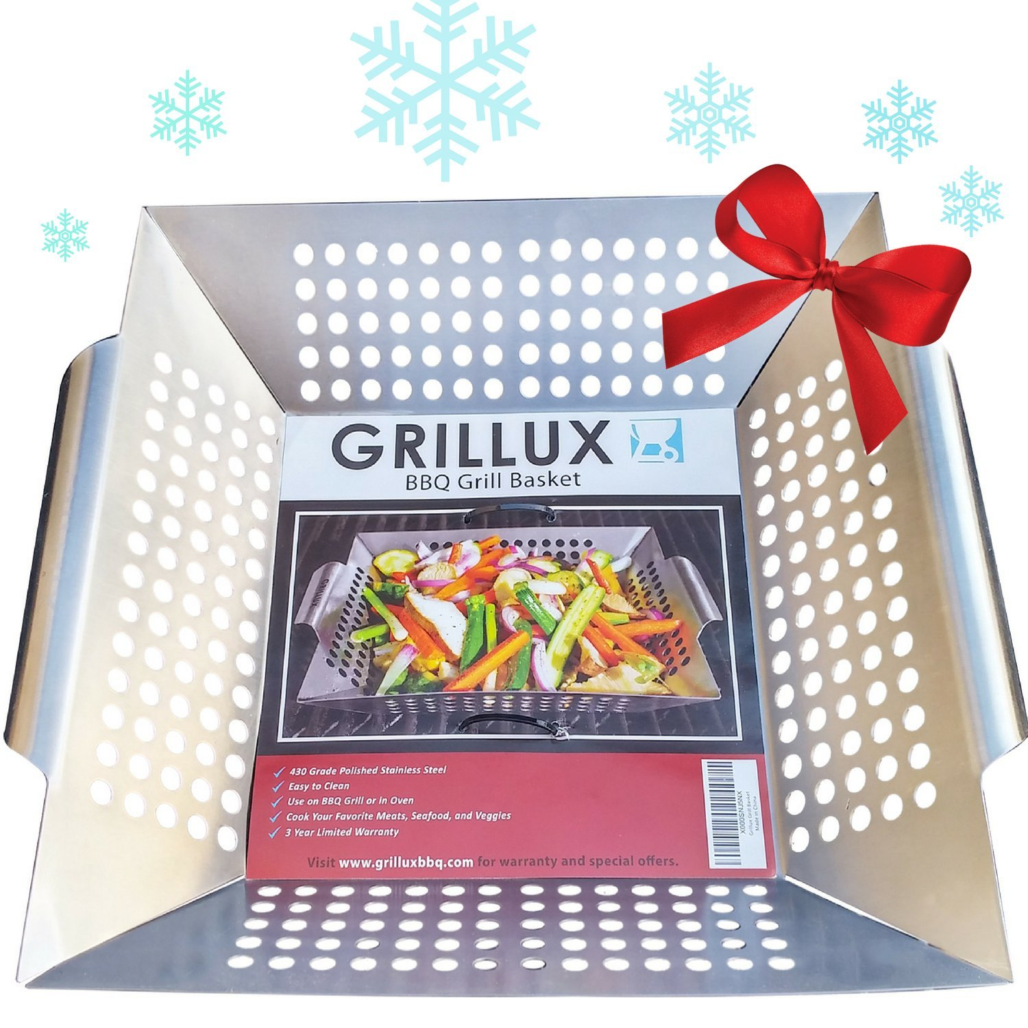 #1 BEST Vegetable Grill Basket - BBQ Accessories for Grilling Veggies, Fish, Meat, Kabob, or Pizza - Use as Wok, Pan, or Smoker - Quality Stainless Steel - Camping Cookware - Charcoal or Gas Grills OK by Grillux