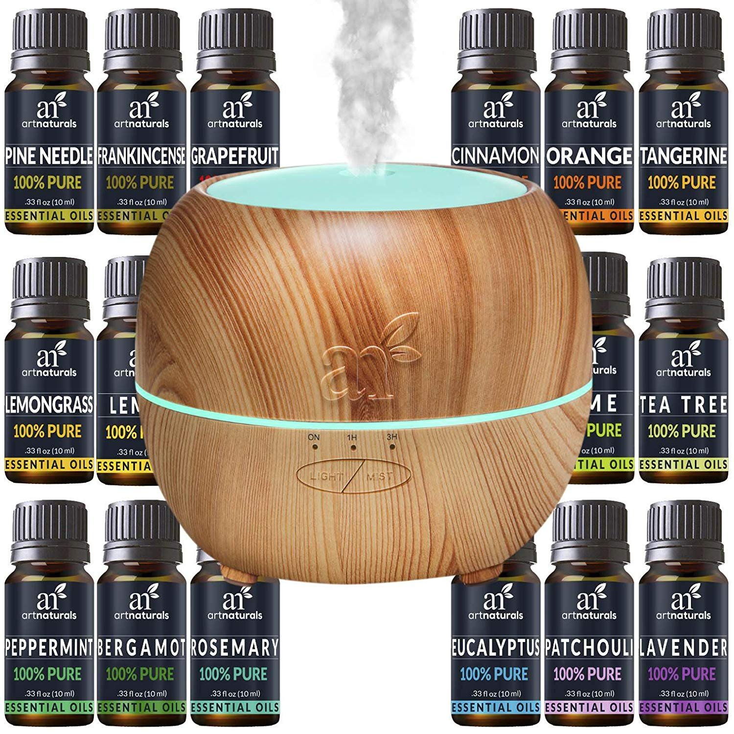 ArtNaturals Aromatherapy Essential Oil and Diffuser Gift Set - (150ml Tank & Top 16 Oils) - Peppermint, Tee Tree, Lavender & Eucalyptus - Auto Shut-Off and 7 Color LED Lights – Therapeutic Grade