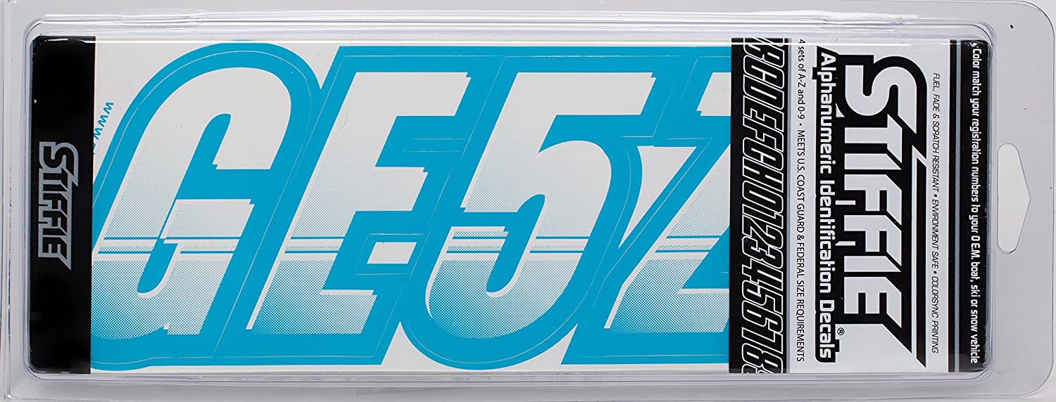 Stiffie Techtron White//Sky Blue 3 Alpha-Numeric Registration Identification Numbers Stickers Decals for Boats /& Personal Watercraft