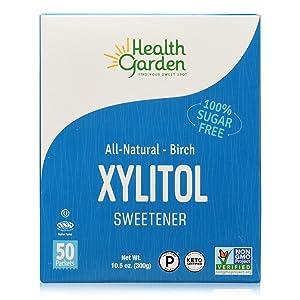 Health Garden Birch Xylitol Sweetener - Non GMO - Kosher - Made in the U.S.A. - Keto Friendly (50 Packets x 3)