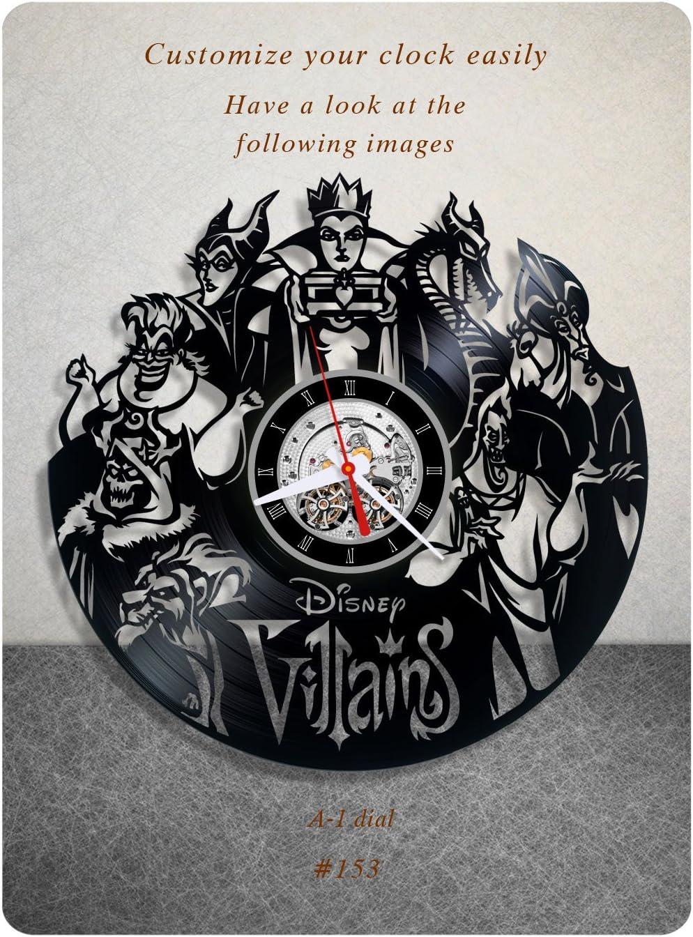 Disney Villains Vinyl Clock, Vinyl Wall Clock, Vinyl Record Clock, Walt Disney Clock Maleficent The Evil Queen Jafar Captain Hook Scar Gaston Wall Art Home Decor Kids Gift 153 - (a1)