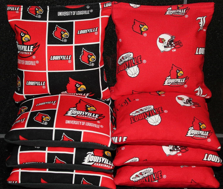BackYardGamesUSA Cornhole Bean Bags w Louisville Cardinals Fabric 8 ACA Regulation Tailgate Bags
