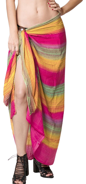 LA LEELA Rayon Hawaiian Beach Bikini Wrap Sarong Tie Dye A