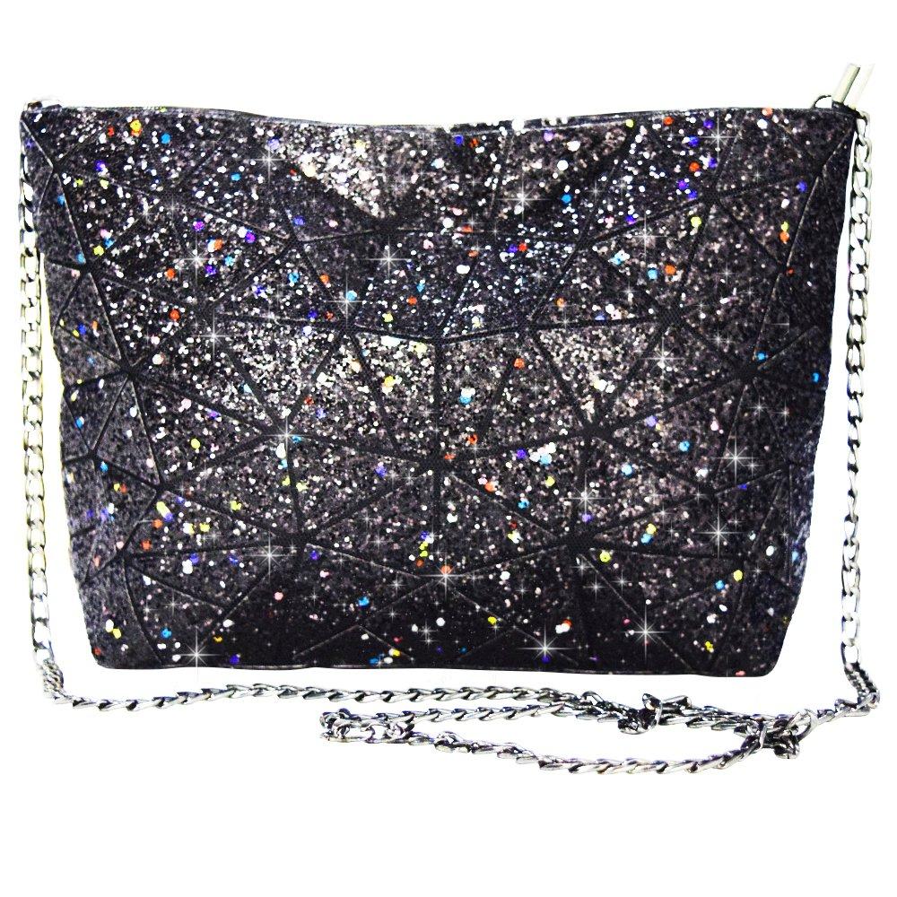 Magibag Women Hologram Geometric Diamond Lattice Plaid Shoulder Bag Handbag Purse Female Tote Bags (Black)