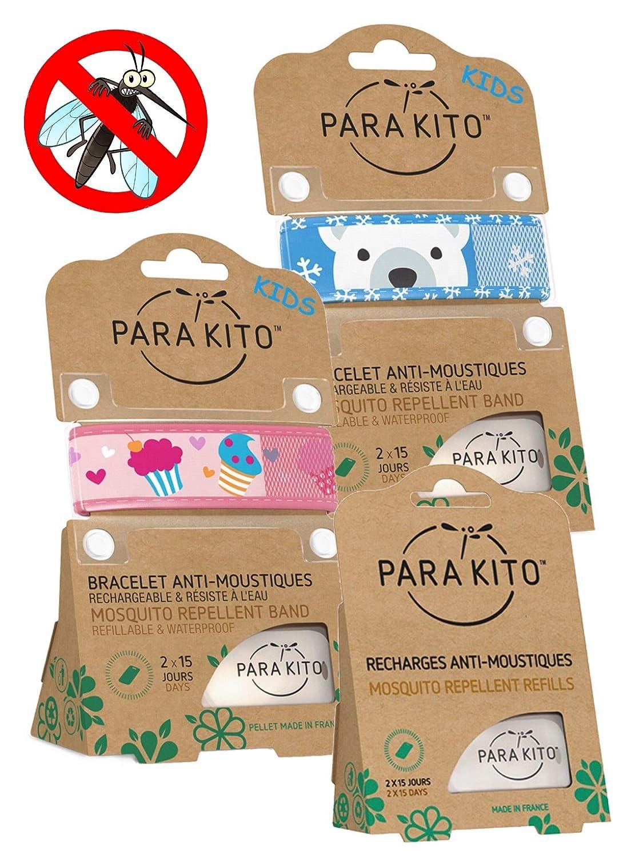 Parakito - Modelo para NIÑO - PROTECCION NATURAL ANTIMOSQUITO - KIT 2 x Parakito PULSERA repelente de mosquitos (Azul et Rosado) + 1 x Recarga Parakito ...