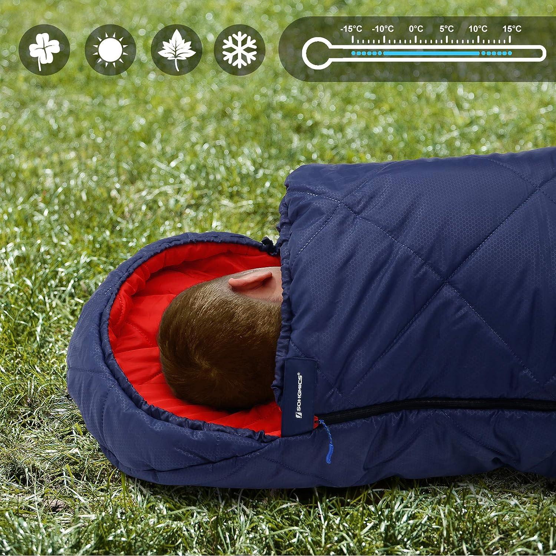 leicht zu transportieren Camping Komforttemperatur 5-15/°C GSB20QR SONGMICS Camping Schlafsack mit Kompressionsbeutel Wandern f/ür alle 4 Jahreszeiten kompakt mit Ultraschall-N/ähten