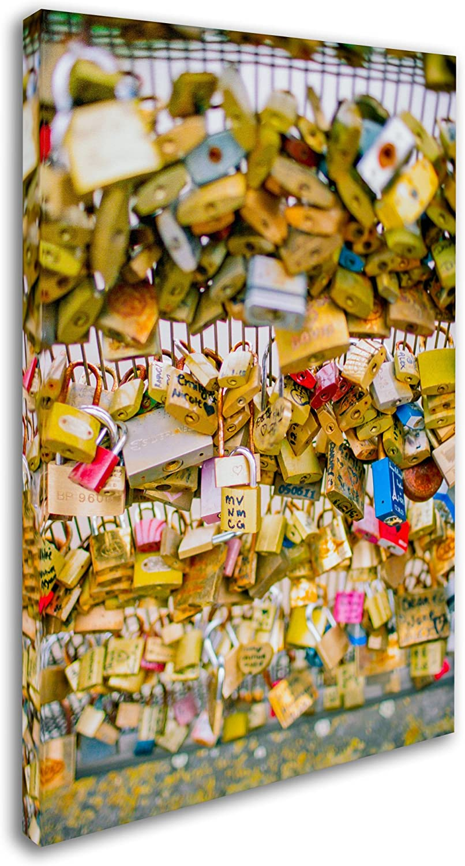 Amazon Com Paris Locks Love By Ariane Moshayedi 30x47 Inch Canvas Wall Art Posters Prints