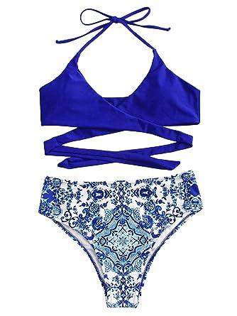 981df44bed893 SweatyRocks Women s Sexy V Neck Ornate Print Front Cross Back Knot Halter  Swimsuit Bikini Blue S