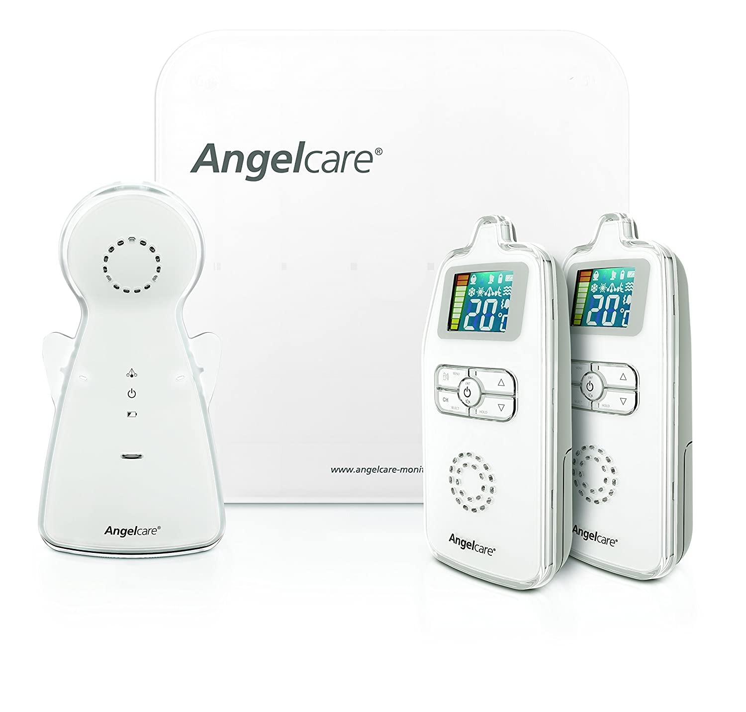 Angelcare AC403-2PU Movement and Sound Monitor for Baby-2 Parent Units, White