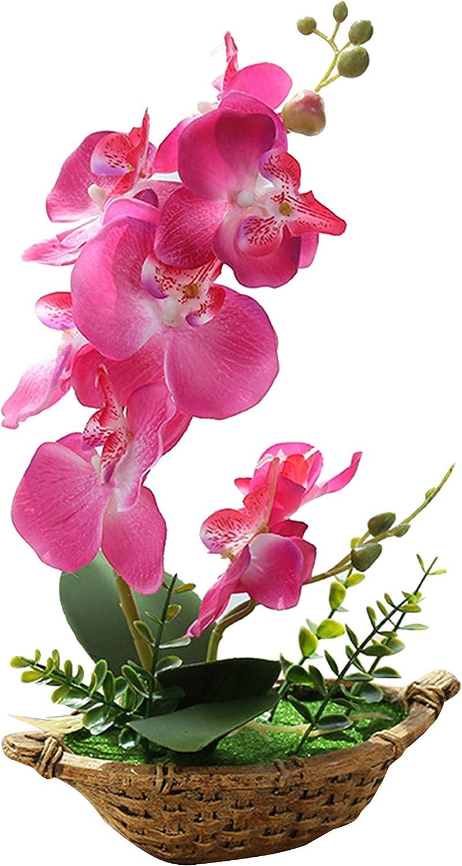 Flikool Doble Tallo Orquídeas Artificiales con Maceta in Cesta Bonsai de Phalaenopsis Flores Artificial Plantas Artificiales de Flor Mariposa para Hogar Balcón Partido Oficina Decoración - Roso