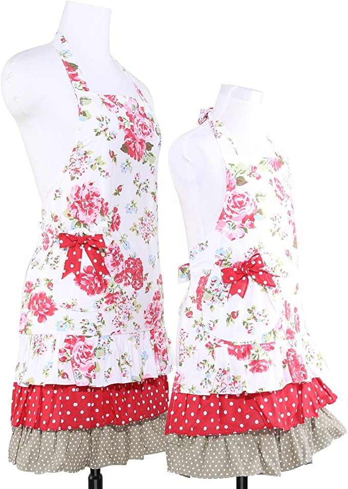 a la moda G2PLUS Delantal de mujer bonito con estampado floral de algod/ón con bolsillos