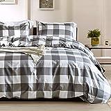 Argstar 3 Pcs King Duvet Covers, Buffalo Checked Bedding Set, Black Gray White Plaid Down Comforter Cover, Modern Style Quilt