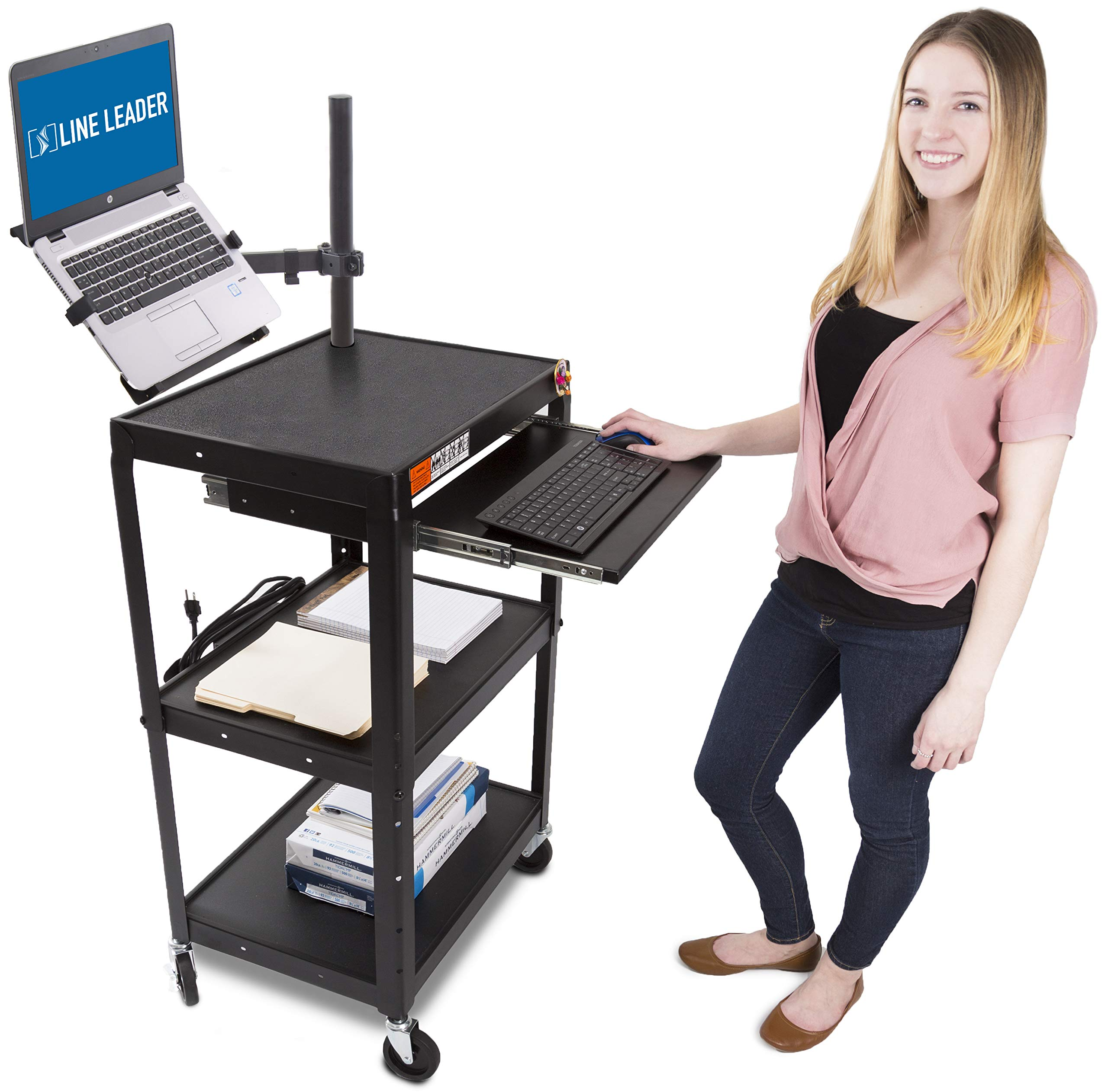 Line Leader AV Cart with Keyboard Tray and Laptop Stand - Mobile Workstation with Laptop Mount - Take Your Office On-The-Go with Our Stand Up Computer Cart (Black / 24 x 18)