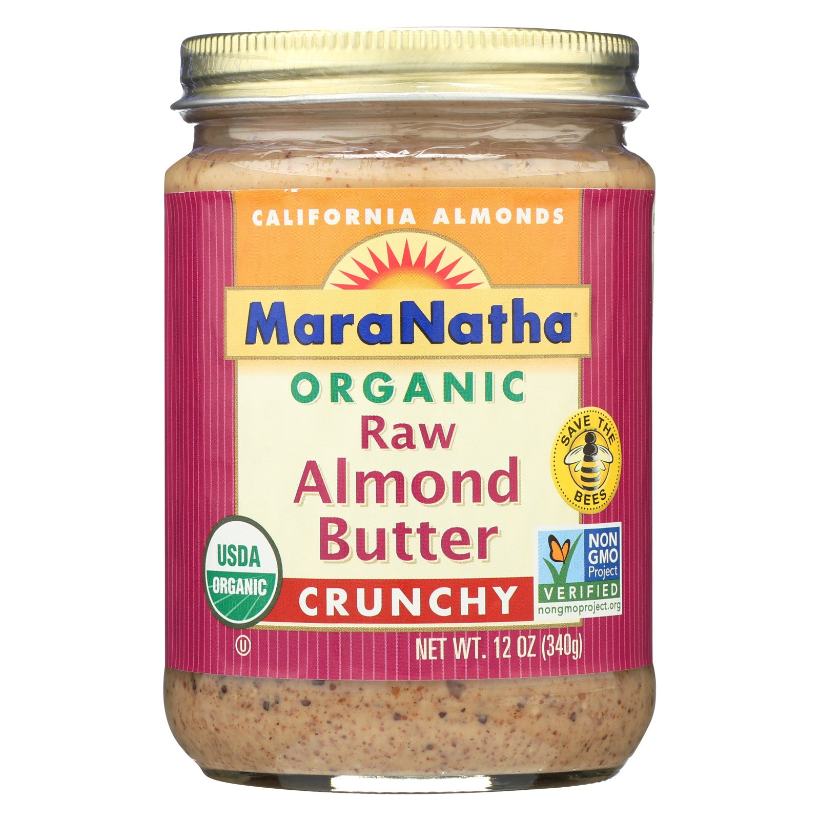 Maranatha Natural Foods Organic Raw Almond Butter - Crunchy - Case of 6 - 12 oz.