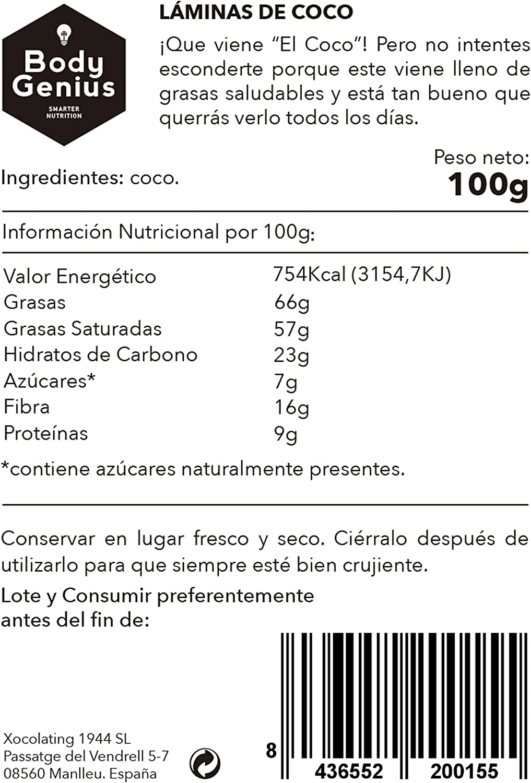 BODY GENIUS Coco Chips. 100g. Láminas de Coco Finas y Crujientes. 100% Natural. Sin azúcar. Ideal Como Snack y para Recetas. Ideal Para Deportistas.