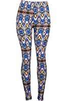 Soft Blue Multi Color Native American Inspired Print Leggings with Elastic Waistband