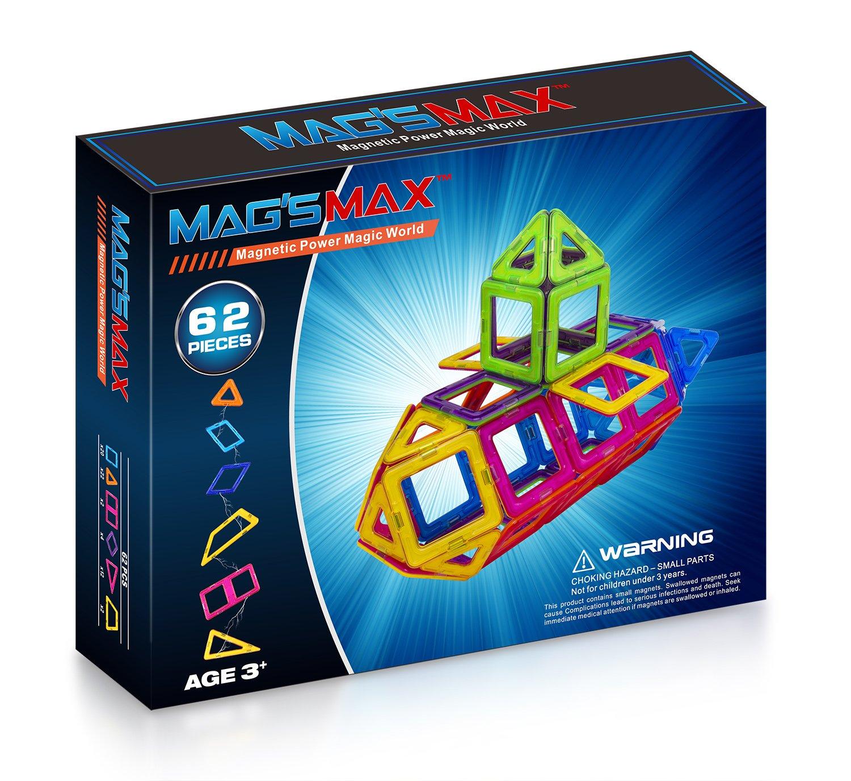 Kinslent 62 Pcs Construction Building Blocks Toys, BPA Free, Magnetic Max STEM Educational Game - 3D Concept Preschool Learning Set