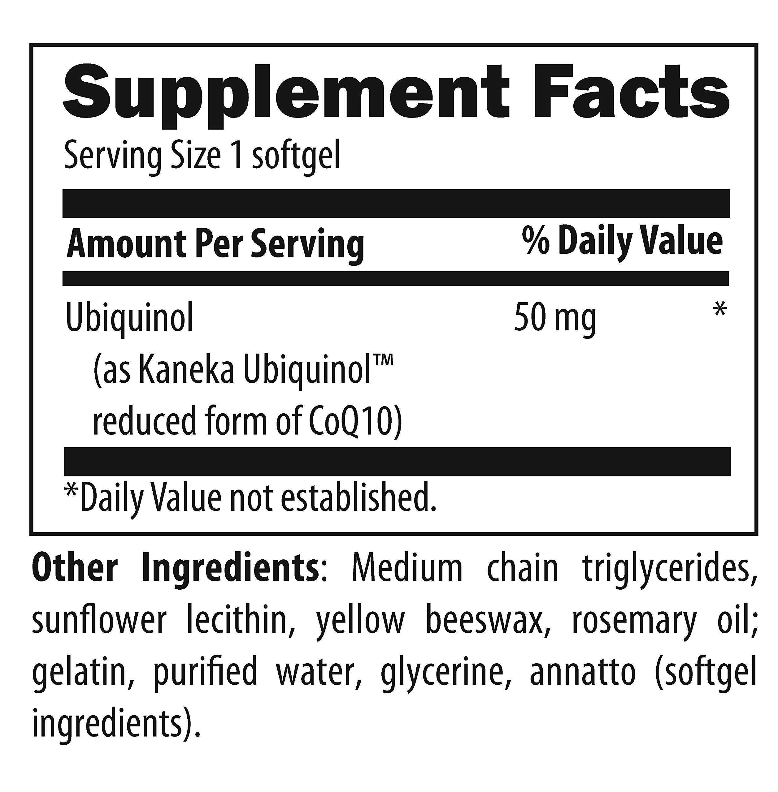Designs for Health - CoQnol - 50mg Antioxidant Ubiquinol, Reduced + Non-GMO CoQ10 for ATP Energy Support, 60 Softgels by designs for health (Image #2)