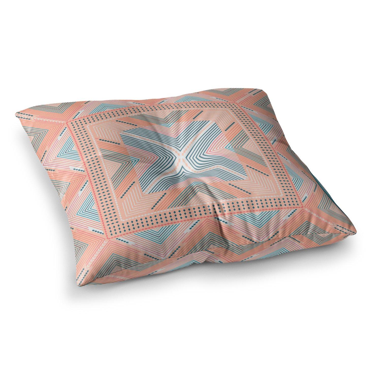 23 x 23 Square Floor Pillow Kess InHouse Nandita Singh Zigzag Coral Blue Digital