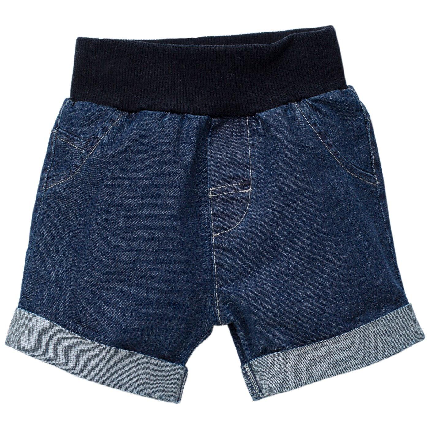 Pinokio - Sea World - Baby kurze Hose, Shorts Baumwolle Jeansoptik, Blau Dunkelblau Ziertasche - Jogginghose, Shorts - elastischer Bund Jungen Mädchen Unisex Jeansshorts