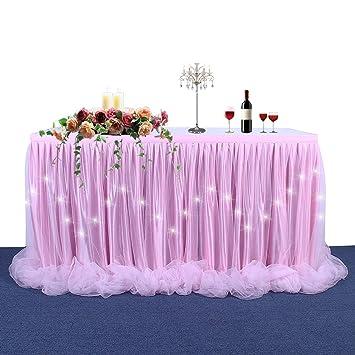 LED Table Skirt Light Up Tutu Table Skirt Long Tulle Tableware For  Rectangle Table For Round
