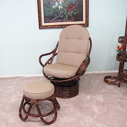 Venice Rattan Swivel Rocker Chair U0026 Foot Stool Assembled In The USA  Sunbrella