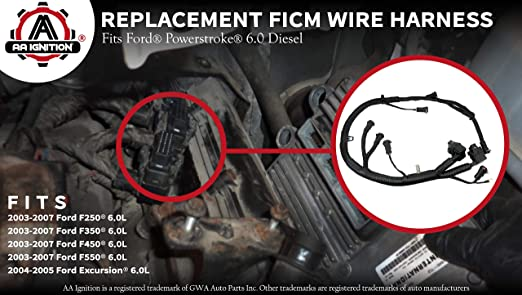 ficm engine fuel injector complete wire harness - replaces part  5c3z9d930a - fits ford powerstroke 6 0l diesel - 2003, 2004, 2005, 2006,  2007 f250 f350