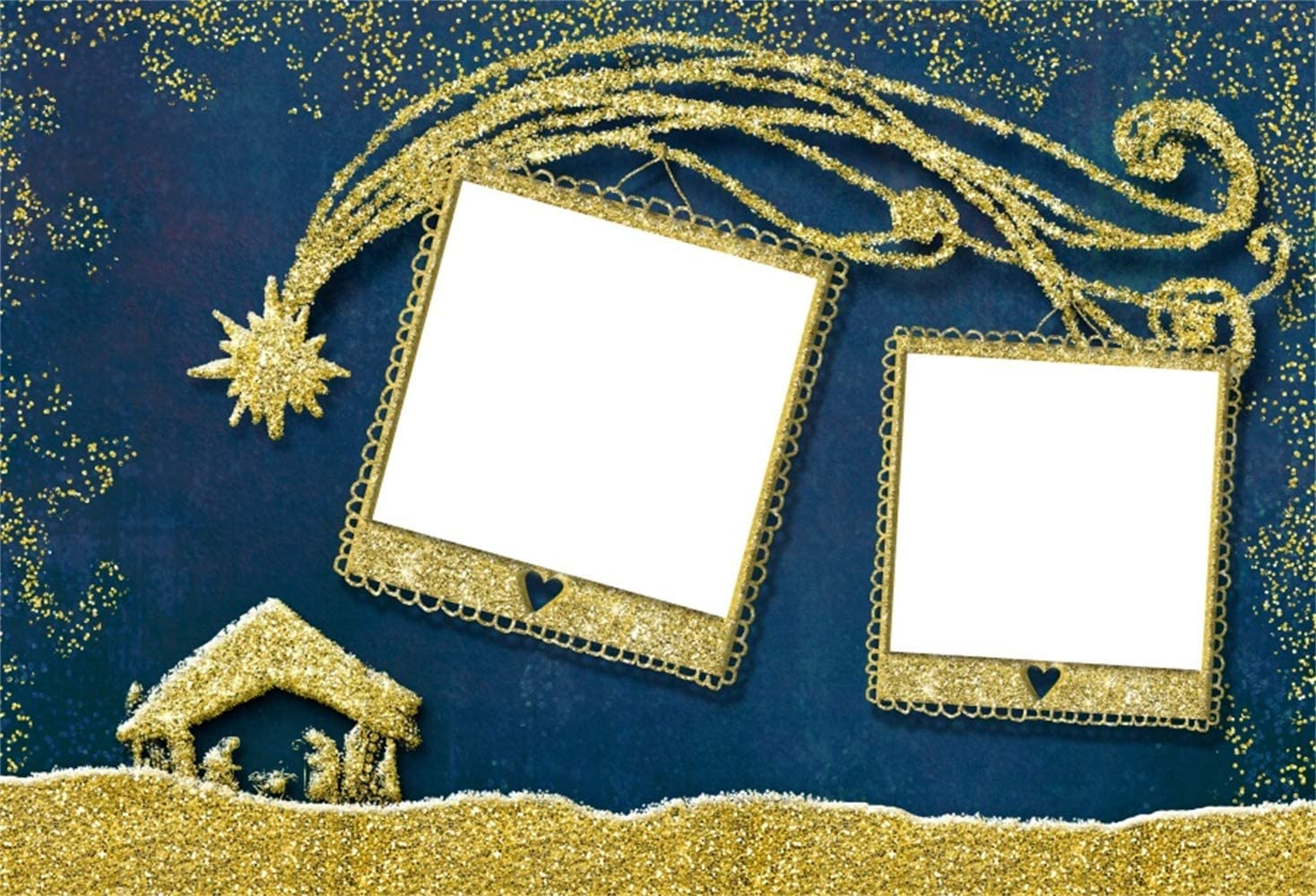 W x5ft H Polyester Children Christmas Photography Background 7ft Golden Gliter Photoframes Meteor Slipping to The Small Barn Nativity Scene Xmas Party Banner Child Baby Shoot Bible Story
