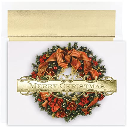 Amazon great papers holiday greeting card christmas wreath holiday greeting card christmas wreath 18 cards18 envelopes m4hsunfo