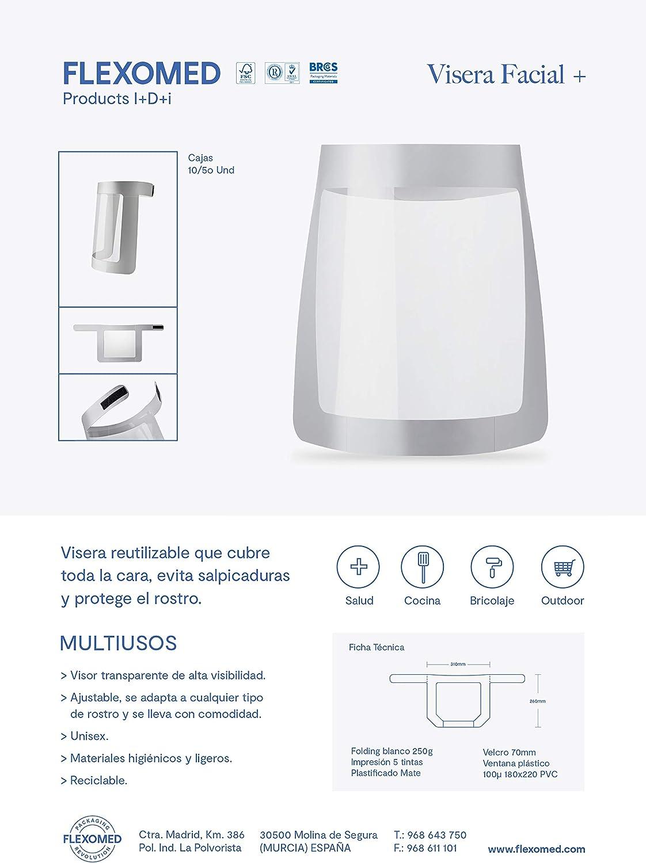 Unisex Protector facial Ajustable Visera Facial protectora 10 unidades